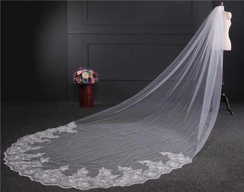4 מטר שנהב/לבן כלה רעלות התחרה Edge טול בלינג Seuqins קתדרלת חתונת רעלה 2019 ארוך Veu de Noiva אביזרי חתונה