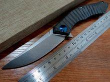 Hot sale . Efeng Blue Moon-1 Folding Knife D2 Blade TC4 Titanium Handle Ball Bearing Flipper Tactical Camping knife MMMMMMMM