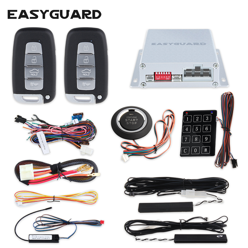 EASYGUARD PKE car alarm system touch password entry push button start stop and remote engine start remote trunk release DC 12V car alarm system pke smart key touch password entry power saving remote engine start starter push start stop button dc12v