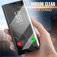 Mewah Cermin Flip Stand Case untuk iPhone 6 7 8 6 S Plus Clear View Smart Cover UNTUK iPhone X shockproof Casing(China)