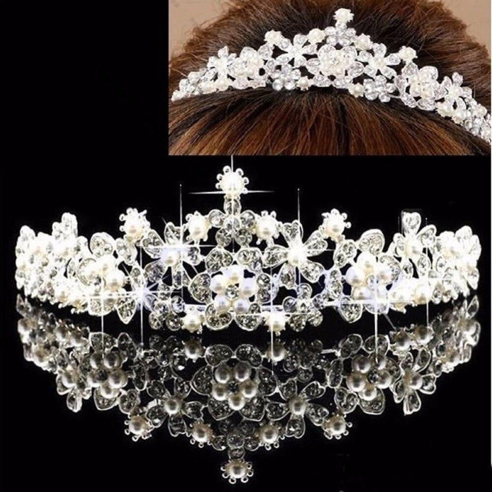 New women Flower Prom Wedding Pageant Veil Crystal Rhinestone Pearl Crown
