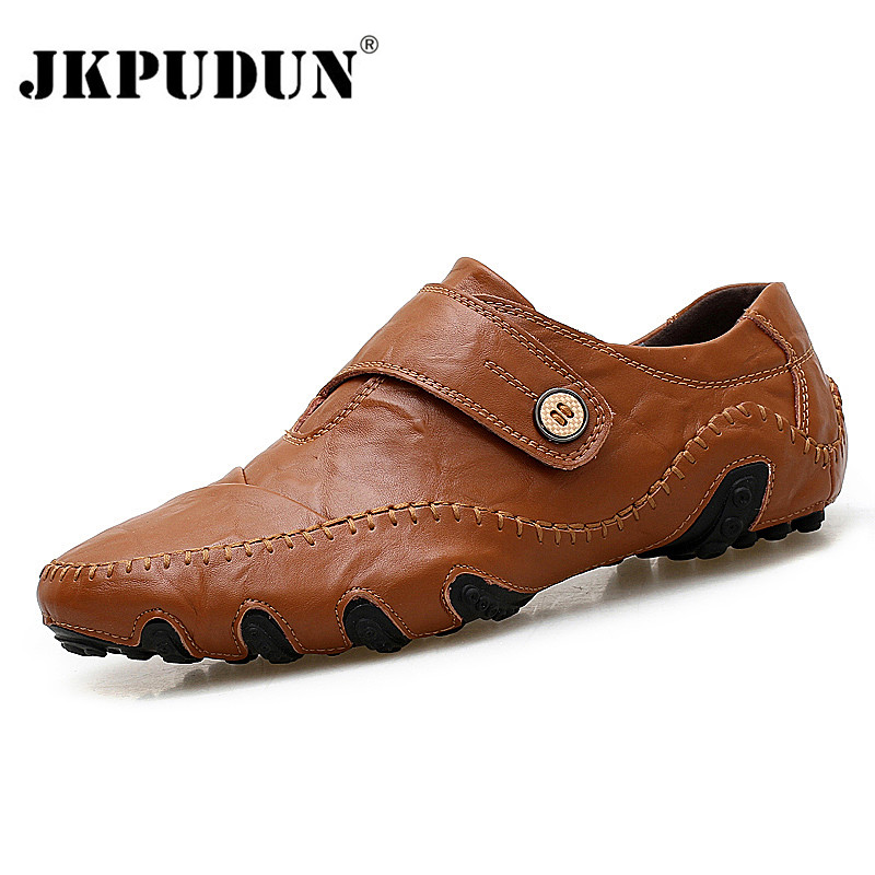 JKPUDUN Handmade Genuine Leather Men Shoes Luxury Brand Italian Casual Mens Loafers Breathable Driving Shoes Slip On Moccasins