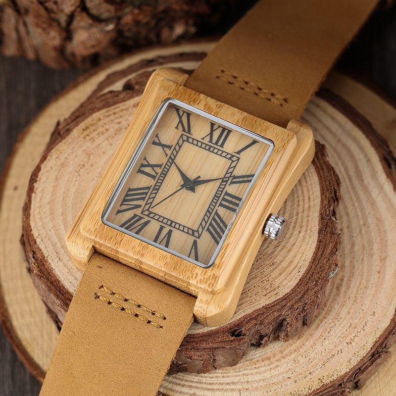 Rectangle Dial Wooden Watches for Men Natural Wood Bamboo Analog Display Genuine Leather Band Quartz Clocks Male Christmas Gifts 2020 2019 (52)