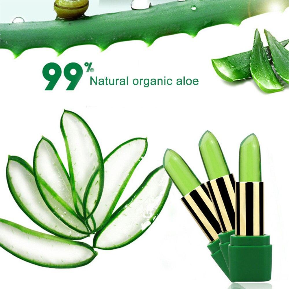 1Pc Lips Care 99%  Aloe Vera Color Change With Temperature Jelly Lipstick Plant Moisturizing Lip Balm Base Makeup Lipstick TSLM2