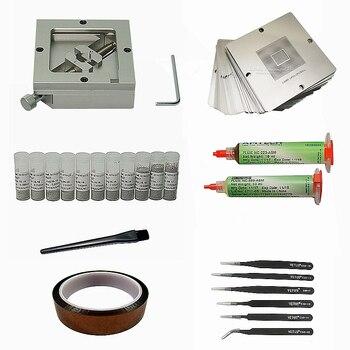 цена 45pcs/lot 90mm BGA Reballing Jig Kit 11pcs 25K Solder Ball 23pcs 90mm Universal BGA Heating Stencils 223 559 Flux ESD Tweezers онлайн в 2017 году