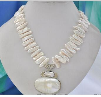 Wholesale Lovely Women's Wedding Jewelry REAL 25mm white biwa dens freshwater pearl necklace mabe pendant 17inch
