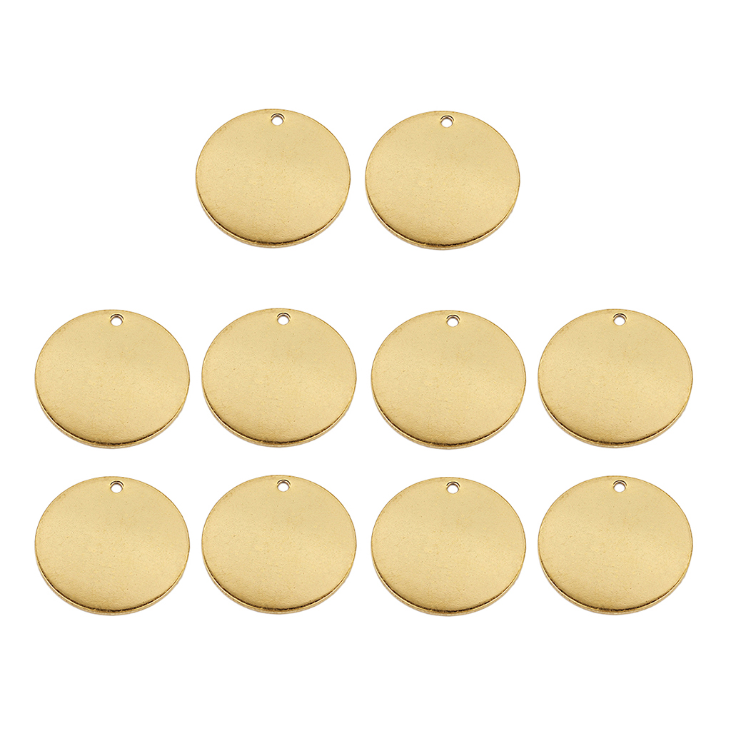 10 Pieces Metal Flat Round Circle Blank Coin Stamping Charms Tag Pendants