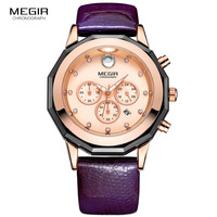 Women's 24 Hours Quartz Wrist Watches Ladies Clock Elegant Purple Leather Strap Stop Watch Woman Relogios Femininos 2042LREPU