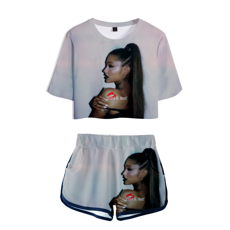 2019 3D Ariana Grande Print Summer Popular Two Pieces Sets Women Fashion Clothes 2019 Hot Sale Casual Harajuku Plus Size XXL