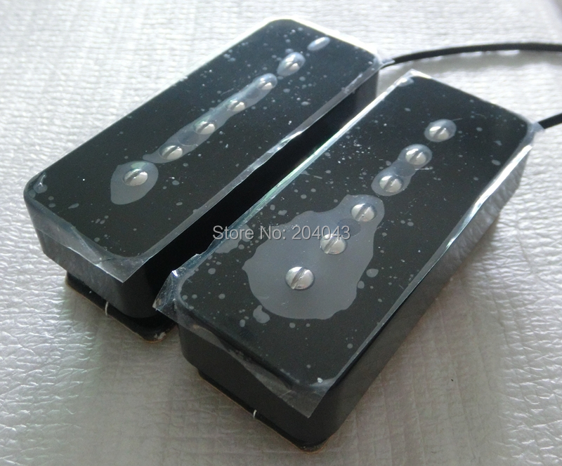 Sell N B SET Black color double coil Ivory staked soap bar guitar pickups with 4