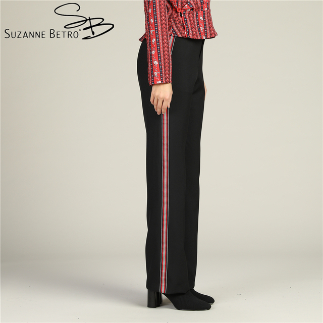Suzanne Betro Stylish Black Straight Leg Trousers Striped trim down outter side Mid rise without waistband On trend