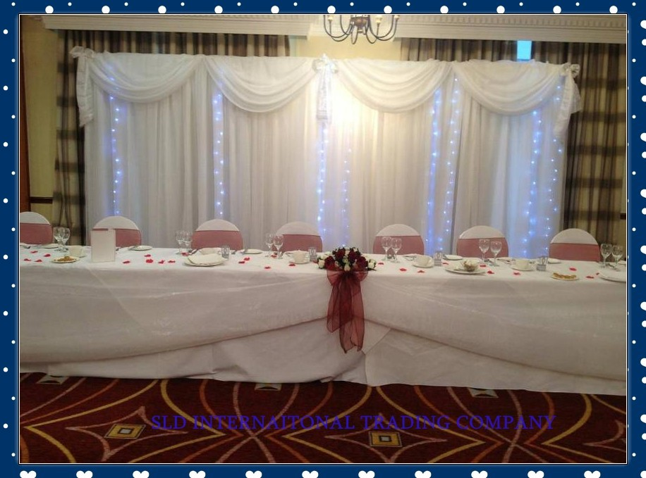 White Wedding Backdrops With Swag and Drape and pipe stand