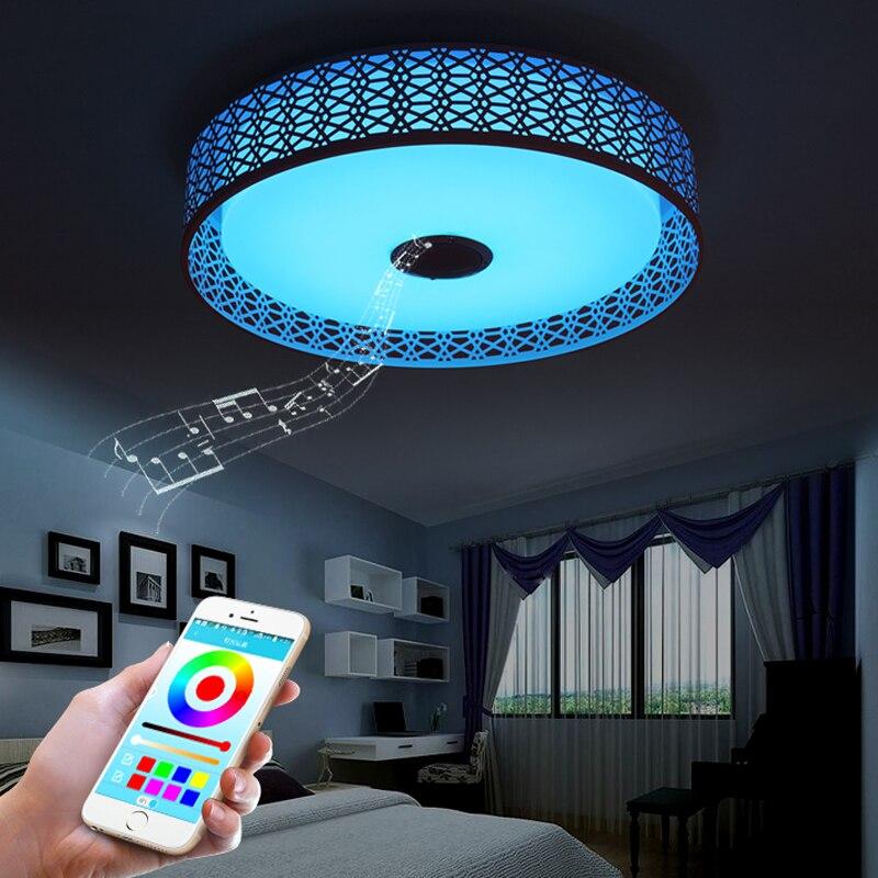 Haut parleur Bluetooth moderne LED plafonnier télécommande RGB LED lampe de musique Dimmable lampe d'éclairage de salon APP intelligente - 3
