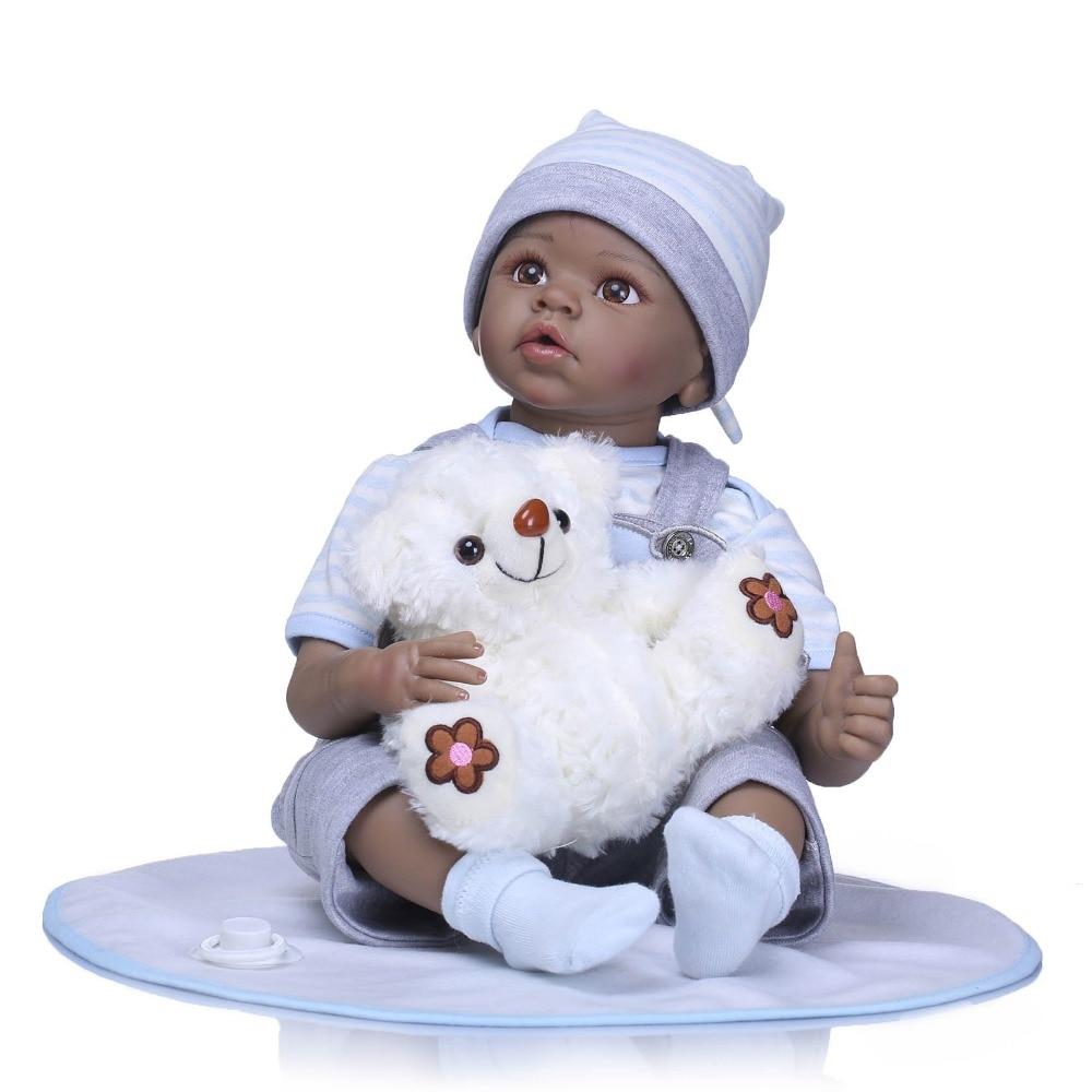 NPK 22 reborn silicone vinyl black baby dolls children play house bebe gift boneca reborn silicone