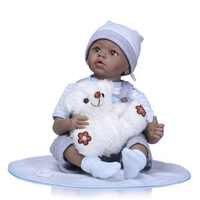 "NPK 22 ""rebornซิลิโคนไวนิลสีดำตุ๊กตาทารกเด็กเล่นบ้านbebeของขวัญbone caเกิดซิลิโคนrebornเด็กตุ๊กตาของเล่นเด็ก"