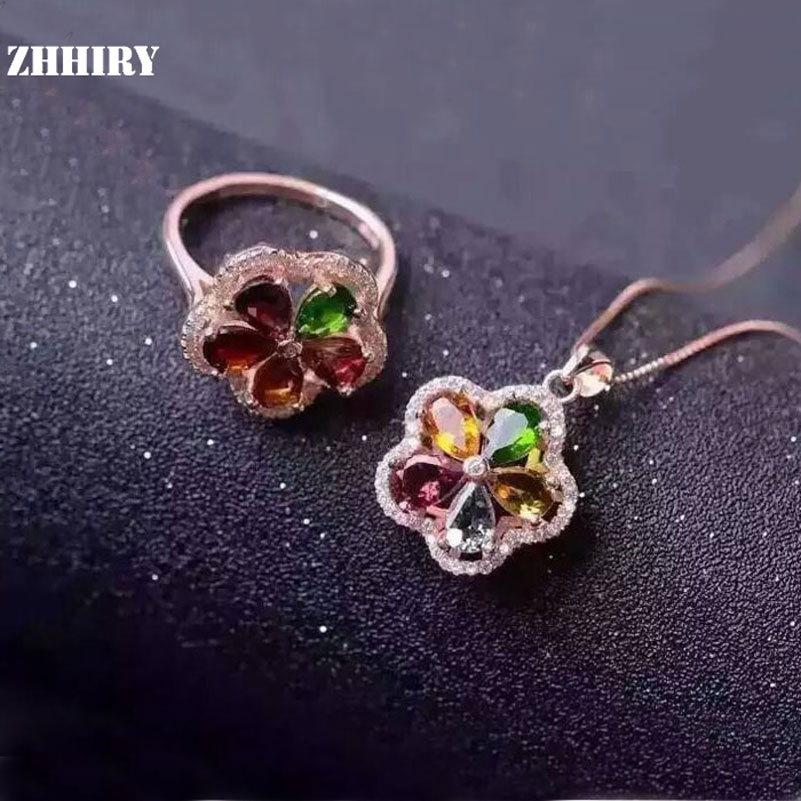 ZHHIRY Natural Tourmaline Gemstone Jewelry Set Genuine 925 Solid Sterling Silver Women Ring And Necklace Pendant Sets Fine Jewel jewelry set natural pearl necklace and drop earring gemstone jewelry 925 sterling silver party necklace double layers fine jewel