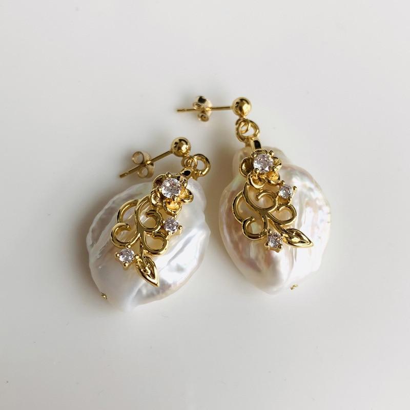 Natural Pearl Shaped Baroque Big Pearl Earrings Literary Retro Wind USA Gold Ear Hook Earrings