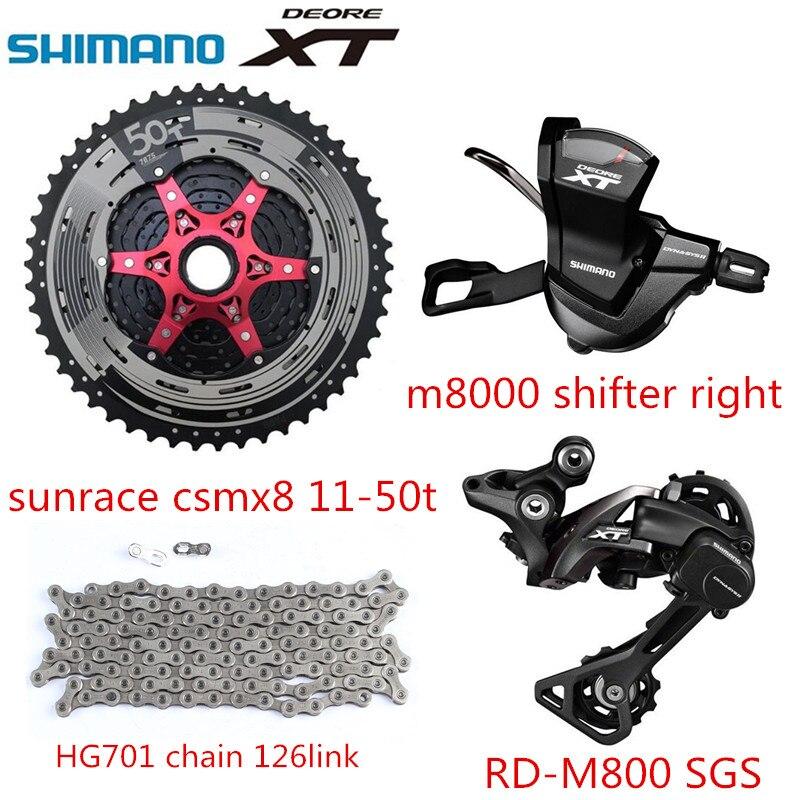 Shimano XT M8000 4 pièces vélo vélo vtt 11 vitesses kit Groupset avec sunrace 11-50 t cassette 126 lien