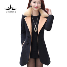 Leiouna Black Winter Wear Woman Woolen Fur Collar Long Irregular Wool Blends Windbreaker Female Coat