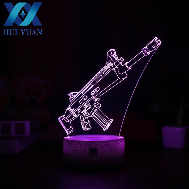 Fortnight Scar Wars 3D Lamp Poke Crystal RGB Changeable Mood Lamp Color Light Base Cool Night Light for Birthday Holiday Gift