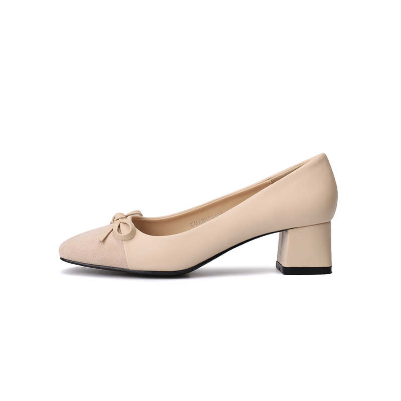 New Bow elegant trendy Women shoes Chunky Heels non-slip Female Suede Comforted fit pumps high quality soft soles tacones mujer