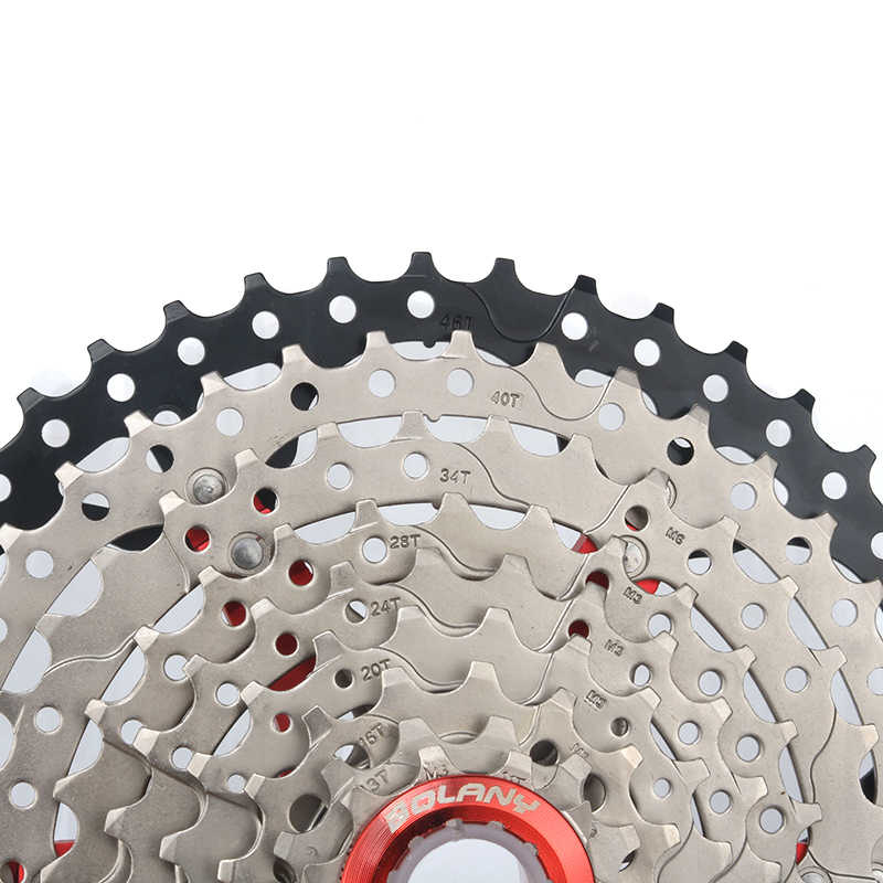 BOLANY Bicycle Cassette 9 Speed 11-46T silver Wide Ratio MTB Cassette Sprockets