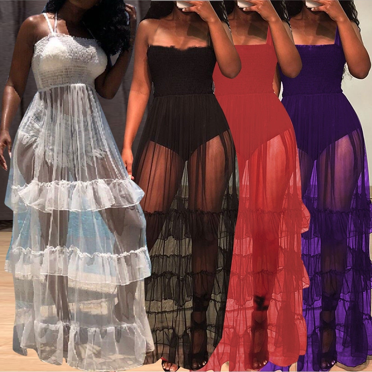 2019 Summer Dress Black Purple Sheer Mesh Maxi Dress Womens Sleeveless Sexy Beach Dresses Chiffon Cascading Ruffle