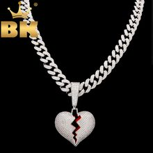 THE BLING KING Heartbreak Pendant Necklace With 13mm Cubic Zirconia Cuban Link Chain Fashion Hiphop Luxury Iced Out Jewelry(China)
