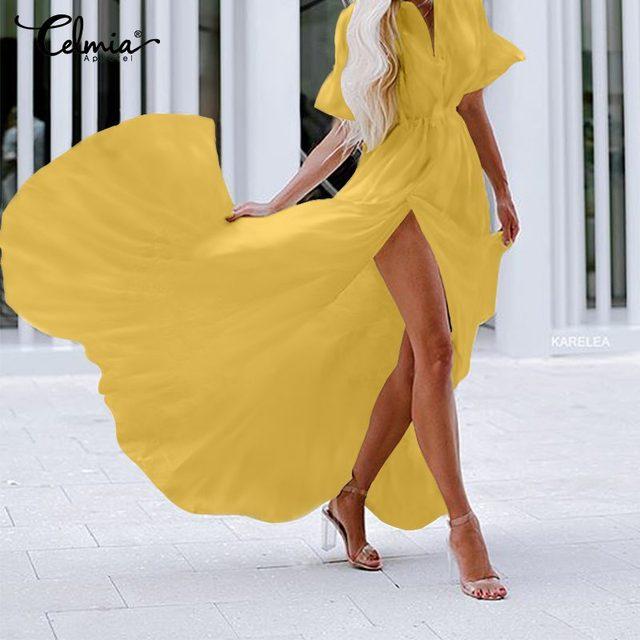 Celmia Bohemian White Ruffled Dress Women Short Sleeve Button Casual Split Sexy Maxi Long Vestidos Swing Party Dress Plus Size 3