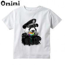 a9fe4aa8fa857 Детские футболки с рисунком пончика и полицейской панды, летние белые  футболки для мальчиков и девочек