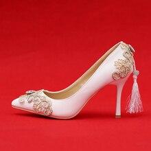 Handgemachte Strasssteinen Frauen Hochzeit Schuhe High Heels Spitz Quaste Brautkleid Schuhe Party Prom Pumpen