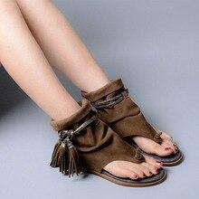 Lonelinecc Brand Lady Ankle Boots Sandal Shoe Thong Tassel Fringe Bohemia Summer Ethnic Vintage Style Gladiator Flat