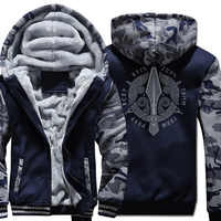 VIKINGS Print Hoodies 2018 Fashion Raglan Jacket For Men 2018 Winter Thick Fleece Mens Clothing Hip Hop Men Jackets And Coat