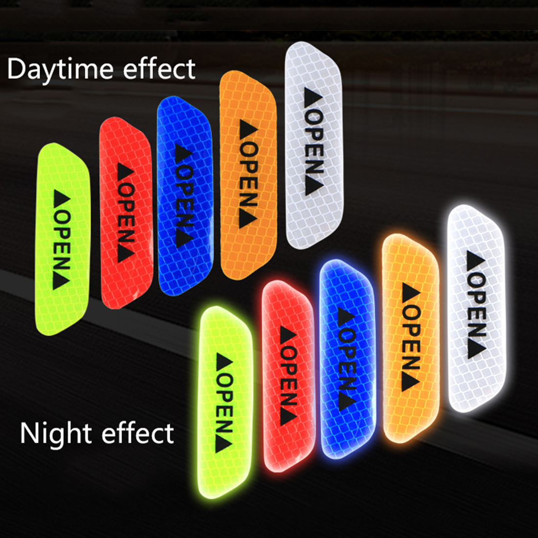 New Arrival Warning Mark Reflective Tape Universal Exterior Accessories Car Door Stickers OPEN Sign Safety Reflective Strips 4Ps