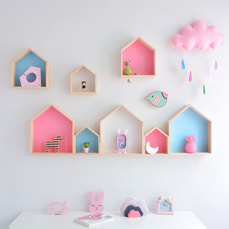 Nordic Hot Wooden Small House Storage Rack Crafts Ornaments Wall Hanging Decor Sundries Holder Shelves Kids Gift Room Decoration