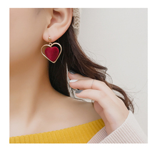 New vintage plush heart earrings female temperament sweet wholesale