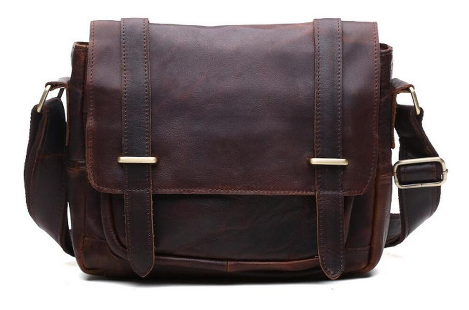 High Quality Vintage 100% Guarantee Real First Layer Cowhide Genuine Crazy Horse Leather Cross Body Men Male Messenger Bags high quality men genuine leather shoulder bag first layer cowhide cross body designer male satchel business messenger bags new