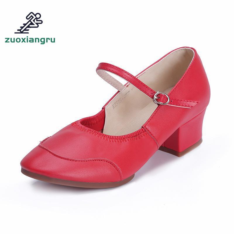 Zuoxiangru talon carré Rumba chaussures de caractère moderne semelle en caoutchouc quatre saisons femme chaussures de danse latine chaussures de sport respirantes