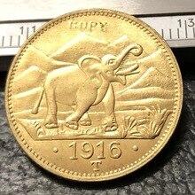 1916 немецкая Восточная Африка 15 рупиен-вихелм Золотая копия монеты