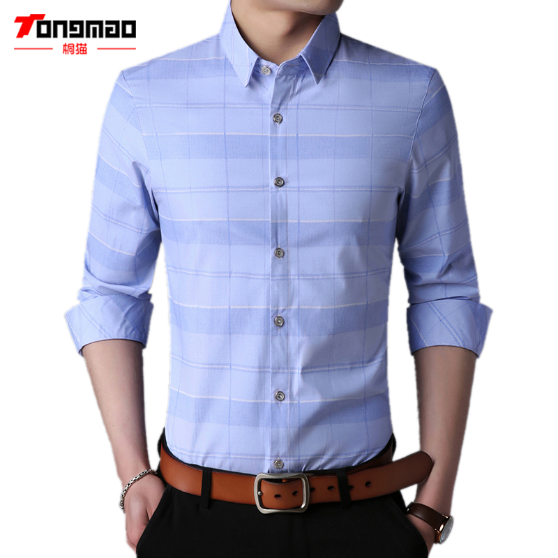 New Spring Men Clothes Long Sleeve Slim Fit Solid Color Mens Shirts Plaid Stripe Cotton Casual Male Social Business Shirt M-3XL