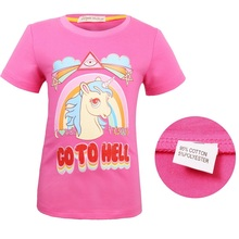 3-10Y Baby Girl T-shirt Unicorn Toddler Kids Summer Clothes Fashion Cotton Short O-Neck Cartoon Girls Tops Teenage Sport Tees стоимость