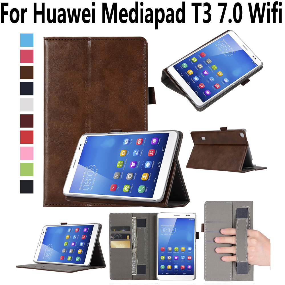 Hand Hold Premium Leather Case For Huawei Mediapad T3 7 7.0 Cover BG2-W09 High Quality Stand Smart Case for Huawei T3 7.0 Wifi