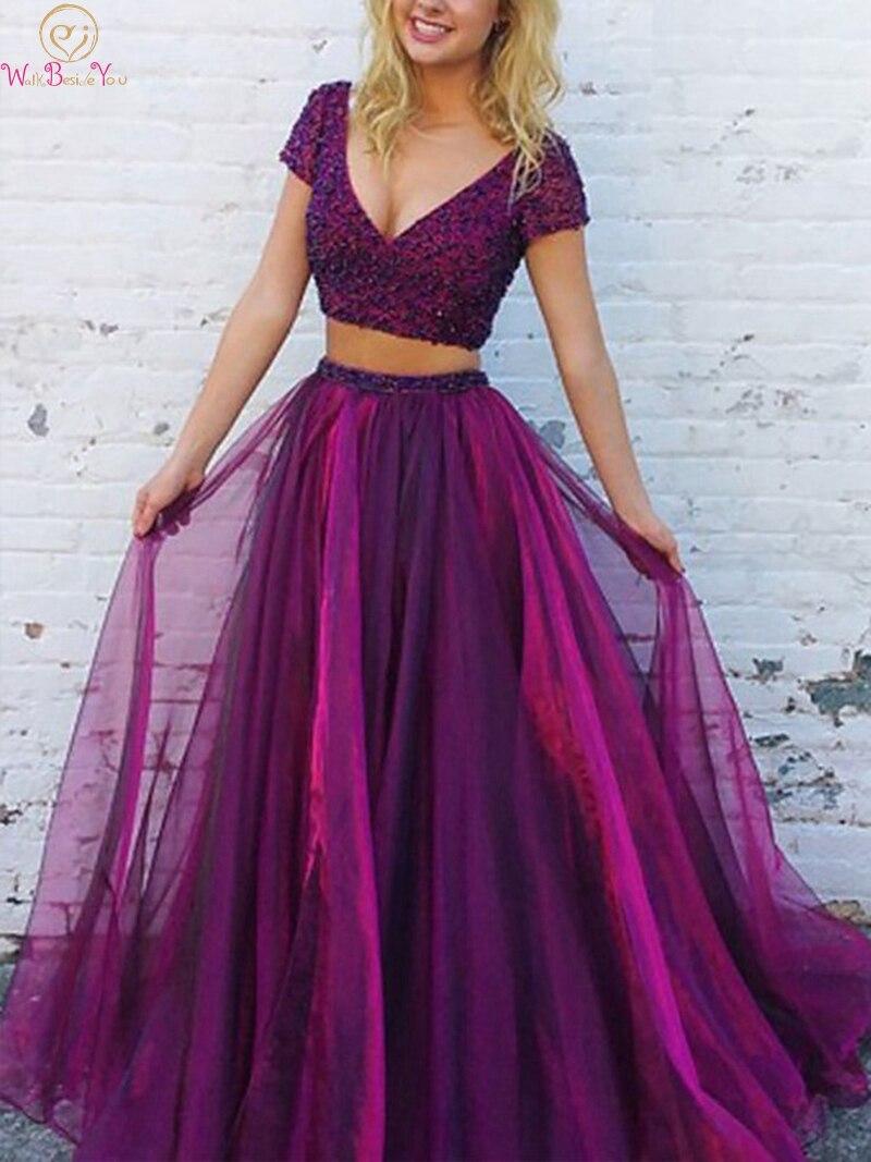 Two Pieces Purple Sexy V Neck Prom Dresses 2019 New Short Sleeve Floor Length Long Formal Party Evening Dresses Vestidos De Gala