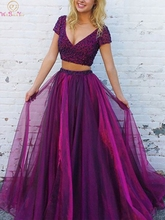 Two Pieces Purple Sexy V Neck Prom Dresses 2019 New Short Sleeve Floor Length Long Formal Party Evening Dresses vestidos de gala