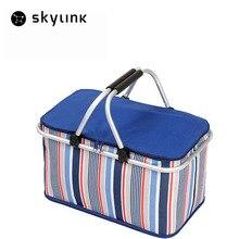 32L Folding Aluminum Alloy Picnic Basket Stripe Large Ice Bag Thick Insulated Cooler Bag Vehicular Car Refrigerator Storage Bags