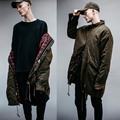 2017 NEW TOP winter USA hiphop kanye west men military pockets long style jacket red plaid fashion Turtleneck Dust coat M-XL