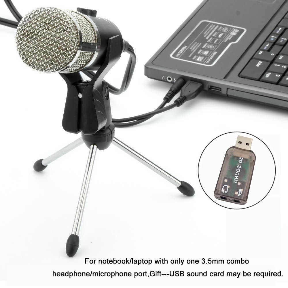 GEVO MK F200FL Microfono A Condensatore Per Il Computer Studio Profesionales 3.5 millimetri Wired Del Basamento USB Mic Per PC Karaoke Registrazione Del Computer Portatile