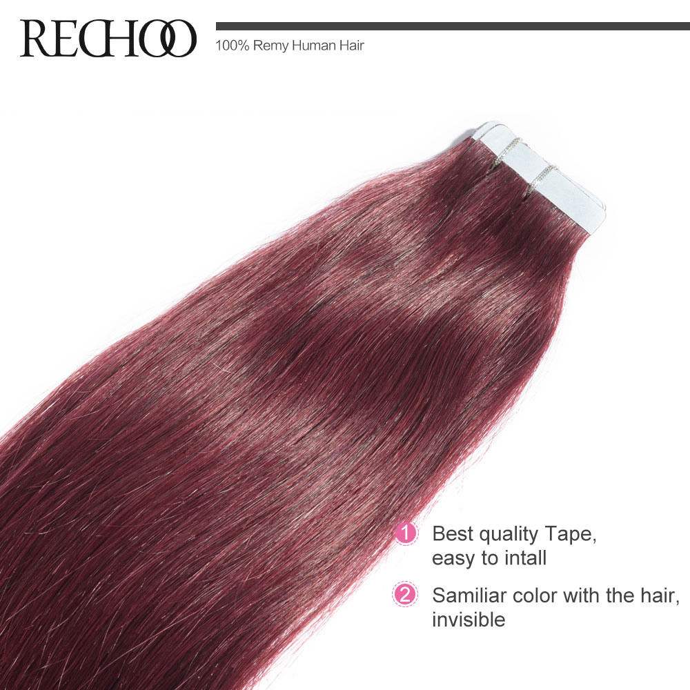Rechoo High Quality Non Remy Tape Hair Extensions 20pcslot Tape In