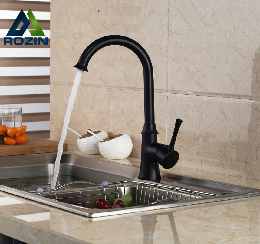 ФОТО Modern Deck Mount One Hole with Hot Cold Water Kitchen Faucet Single Handle Oil-rubbed Bronze Finished