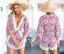 Sexy Stitching Lace Jumpsuits Playsuit Irregular Crochet Elegant V-neck Rompers Womens
